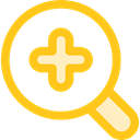 Multimedia, magnifying glass, interface, lens, Loupe, Zoom in, Tools And Utensils, Edit Tools Gold icon