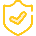 Antivirus, shield, defense, secure, security Gold icon