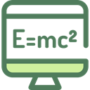 physics, maths, monitor, screen, science, education DimGray icon