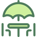 Chairs, Sun Umbrella, Furniture And Household, Umbrella, Restaurant, terrace DimGray icon