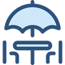 terrace, Chairs, Sun Umbrella, Umbrella, Restaurant, Furniture And Household DarkSlateBlue icon