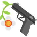 Pacifism, Flower, love, miscellaneous, hippie, Peace, Gun, pistol, loving Black icon