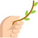 Hand, branch, olive, nature, Peace, Gesture Black icon