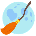 Holidays, Moon, broom, halloween PaleTurquoise icon