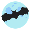 Moon, bat, halloween, Holidays PaleTurquoise icon