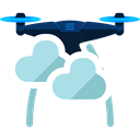 drone, Clouds, transportation, technology, electronics Black icon
