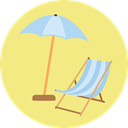 Beach, Holidays, summer, vacations, Sun Umbrella, Sunbed Khaki icon