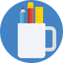 pencil, Pen, ruler, mug, Tools And Utensils, Writing Tool, School Material SteelBlue icon