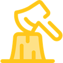 Ax, chopping, Woodcutter, Construction And Tools Gold icon