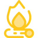 hot, Burn, Flame, nature, Bonfire, Camping, Holidays, campfire Gold icon