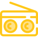 music, radio, technology, electronic, electronics, vintage Gold icon