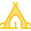 rural, travel, nature, Camping, Forest, Tent, woods Gold icon