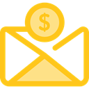 envelope, Business, Money, Cash, Currency, Charity, Business And Finance Gold icon