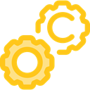Tools And Utensils, Seo And Web, Gear, settings, configuration, cogwheel Gold icon