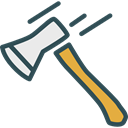 miscellaneous, tool, weapon, firefighter, Axe, hatchet, weapons, Firefighting, Construction And Tools Black icon