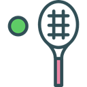 Ball, tennis, sports, racket, Sportive, Sports And Competition Black icon