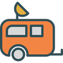 vehicle, Camping, Holidays, summer, transportation, travel, transport, Trailer, Caravan Coral icon