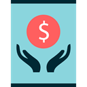 Bank, Hands, Dollar Symbol, Commerce And Shopping, Hand, Business, Money, coin, Coins, Currency SkyBlue icon