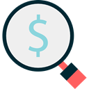 Dollar Symbol, Business And Finance, Seo And Web, Business, Money, Dollar, Loupe, search, magnifying glass WhiteSmoke icon