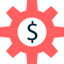 Tools And Utensils, Dollar Symbol, Seo And Web, Gear, settings, Business, Dollar, configuration, cogwheel Tomato icon