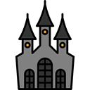 Castle, halloween, horror, Terror, spooky, scary, fear Black icon