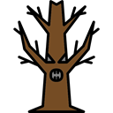 Tree, fall, halloween, horror, Terror, spooky, scary, fear, autumn Black icon