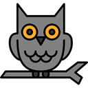 hunter, owl, Animals, bird Gray icon