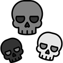 halloween, horror, Terror, spooky, scary, fear, Skulls Black icon