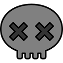 skull, scary, fear, halloween, horror, Terror, spooky Gray icon