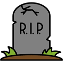 halloween, horror, Terror, Cemetery, Rip, spooky, scary, fear, tombstone Gray icon