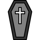 Dead, halloween, horror, Terror, spooky, scary, coffin, fear Black icon
