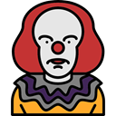 scary, fear, horror, Clown, Terror, spooky, Avatar, halloween Black icon