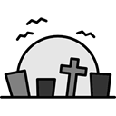 halloween, horror, Terror, Cemetery, graveyard, Rip, spooky, scary, fear, tombstone Black icon
