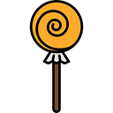 Food And Restaurant, sugar, Dessert, sweet, Lollipop, food Black icon