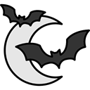 night, fall, bat, halloween, horror, Terror, spooky, scary, fear, autumn, Half Moon Black icon