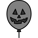 Balloon, halloween, horror, Terror, spooky, scary, fear Gray icon