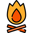 Burn, Flame, nature, Bonfire, hot, Camping, campfire Black icon
