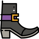 Boot, halloween, horror, Terror, witch, fashion, spooky, scary, Costume, fear, footwear Black icon