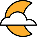 Cloudy, nature, meteorology, Atmospheric, Moon, night, weather Goldenrod icon