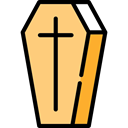 Box, cross, death, halloween, coffin Khaki icon