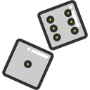 gaming, Casino, Bet, dices, gambling LightGray icon