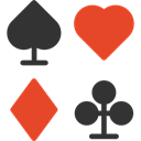Clubs, gambling, Spades, Diamonds, Casino, Bet, poker, Hearts, gaming Black icon