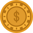 Chip, gaming, Casino, Bet, gambling Goldenrod icon