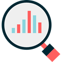 magnifying glass, Business, Stats, Analytics, statistics, Loupe, Bar chart, Profits, Seo And Web WhiteSmoke icon