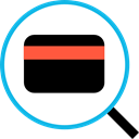Commerce And Shopping, search, Credit card, Debit card Black icon