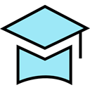 Cap, education, Graduate, mortarboard PaleTurquoise icon