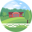 landscape, Farm, scenery, Ranch, nature MediumSeaGreen icon