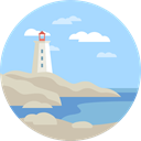 scenery, nature, Lighthouse, landscape LightBlue icon