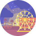 landscape, entertainment, scenery, Amusement Park SlateBlue icon