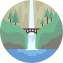 nature, landscape, scenery, waterfall DarkSeaGreen icon